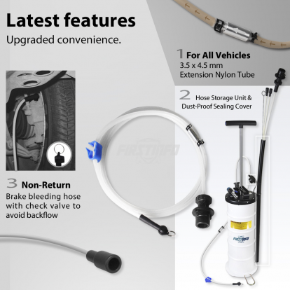 6.5L Pneumatic / Manual Oil & Fluid Extractor with Brake Bleeder Hose