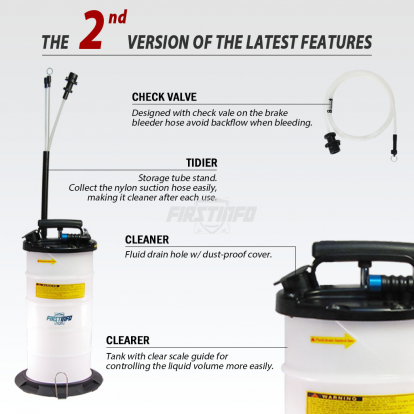 9.5L Pneumatic / Manual Oil & Fluid Extractor with Brake Bleeder Hose