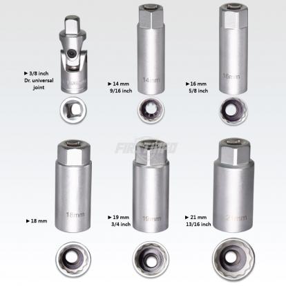 """8 pcs 3/8"""" Torque Limited Rachet & Spark Plug Socket Set"""