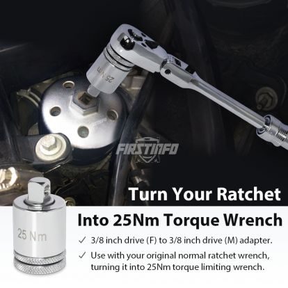 """3/8"""" Drive 25Nm For Engine Oil Filter Wrench Torque Limited Adapter, Turn Traditional Ratchet Wrench To 25 N.m. Torque Limited Wrench"""