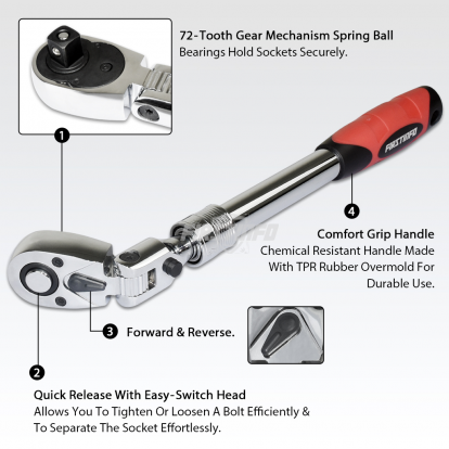 """1/2"""" Dr. 72T Locking Flexible Extendable Ratchet Wrench Handle"""