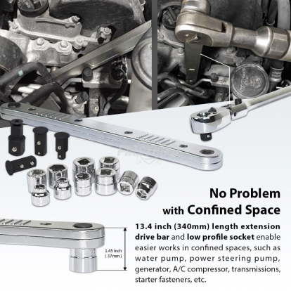 Ratchet Extension Drive Bar and Low Profile Socket Set