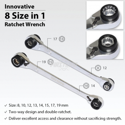 8 in 1 (8~19mm) 12-Point (90T) Ratcheting Wrench