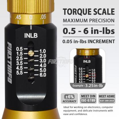 "1/4"" (6.35mm) Hex. Drive  0.5~6 in-lbs Mini Adjustable Torque Screwdriver (with Quick Release Bit Holder)"