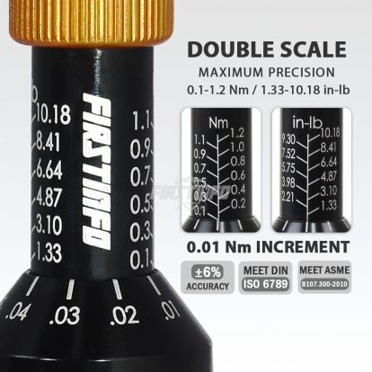"1/4"" (6.35mm) Hex. Drive 0.1~1.2 N.m. / 1.33~10.18 In-lbs Adjustable Torque Screwdriver (with Quick Release Bit Holder)"